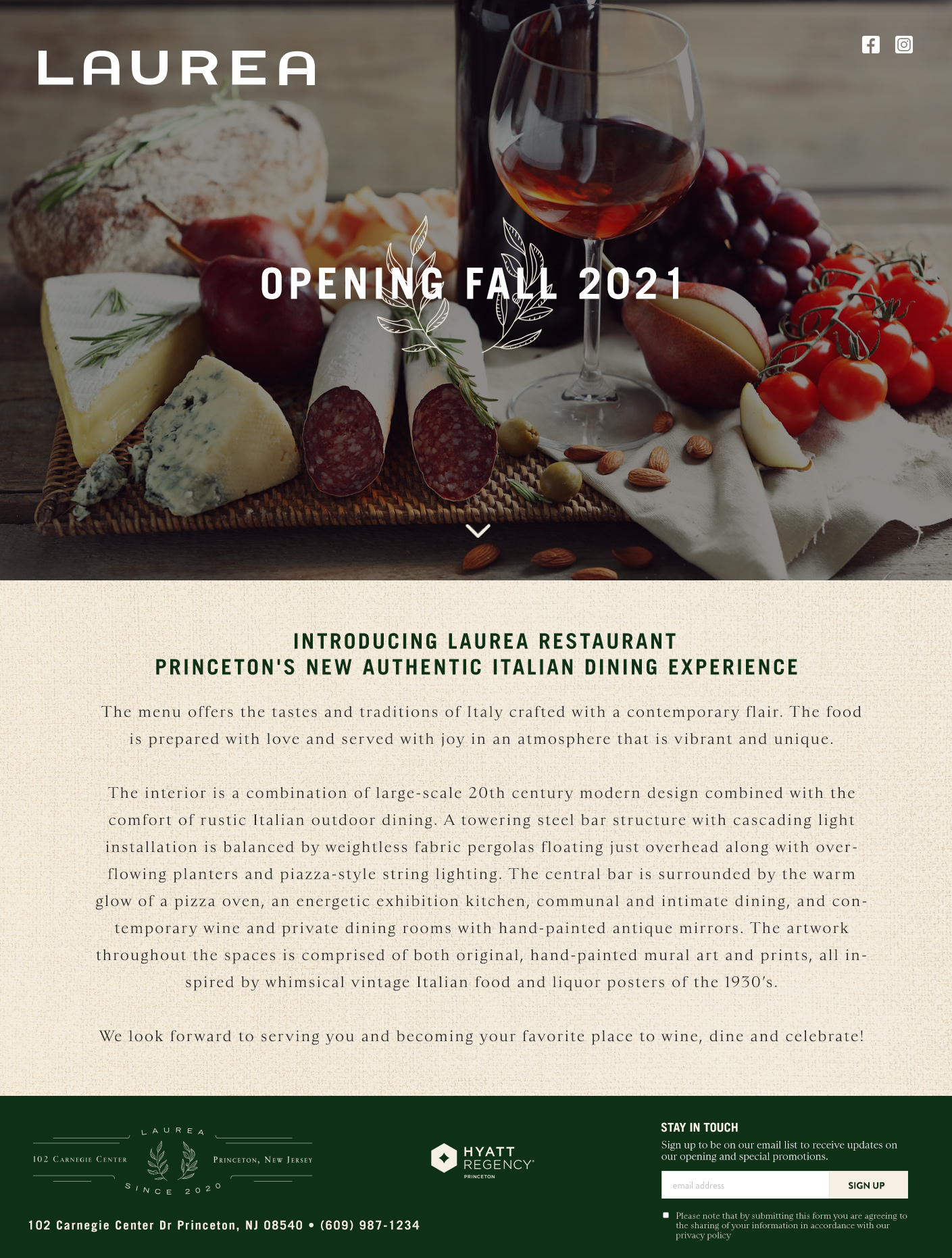Laurea Restaurant Landing Page